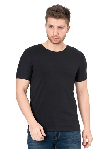 White Stone Los Alcarrizos Slim Fit Düz Sıfır Yaka T-Shirt Beyaz Siyah
